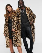 ASOS Leopard Patterns Faux Fur Blended Fabrics Street Style Long