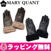 MARY QUANT Faux Fur Plain Leather & Faux Leather Gloves