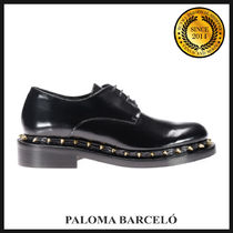 PALOMA BARCELO Round Toe Rubber Sole Casual Style Studded Plain Leather