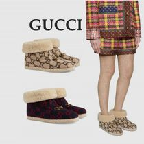 GUCCI Monogram Round Toe Rubber Sole Casual Style Faux Fur Fur