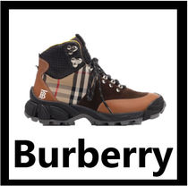 Burberry Other Check Patterns Mountain Boots Leather Outdoor Boots