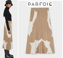 PARFOIS Casual Style Pleated Skirts Other Animal Patterns Medium