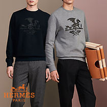 HERMES Crew Neck Pullovers Street Style Long Sleeves Cotton