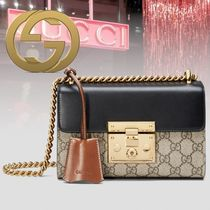 GUCCI Monogram Canvas 2WAY Chain Leather Elegant Style