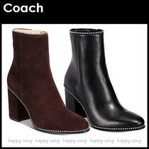 Coach Round Toe Casual Style Plain Leather Block Heels