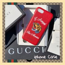 GUCCI Unisex Blended Fabrics Leather Smart Phone Cases