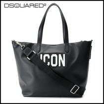 D SQUARED2 Casual Style Unisex Calfskin 2WAY Plain Office Style Totes