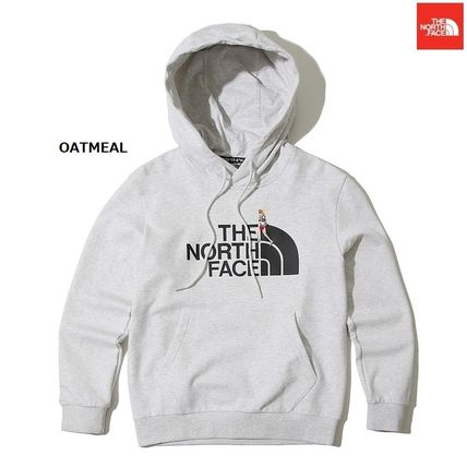 THE NORTH FACE Nuptse Crew Neck Argile Unisex Low Gauge Street Style Long Sleeves