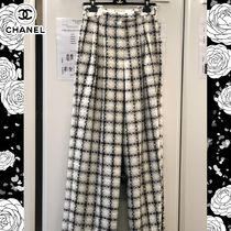 CHANEL Other Check Patterns Wool Tweed Bi-color Long Elegant Style