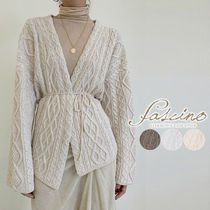 Cable Knit Casual Style Long Sleeves Plain Medium Gowns