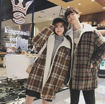 Short Other Check Patterns Wool Street Style Oversized Coats