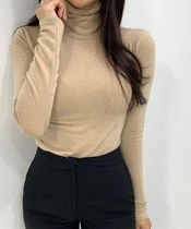 Casual Style Long Sleeves Plain Medium High-Neck Turtlenecks