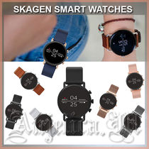 SKAGEN DENMARK Casual Style Leather Silicon Round Digital Watches