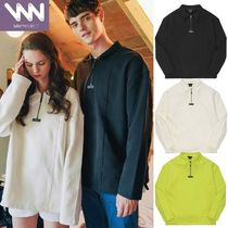 WV PROJECT Casual Style Unisex Street Style Long Sleeves Plain Cotton