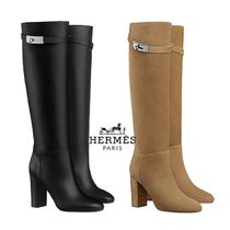 HERMES Casual Style Plain Leather Elegant Style High Heel Boots