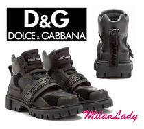 Dolce & Gabbana Plain Toe Mountain Boots Rubber Sole Casual Style Suede