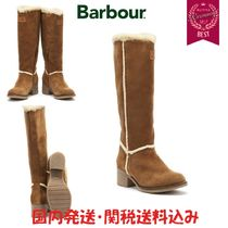Barbour Round Toe Rubber Sole Casual Style Suede Blended Fabrics
