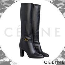 CELINE Triomphe Plain Leather Block Heels Elegant Style High Heel Boots
