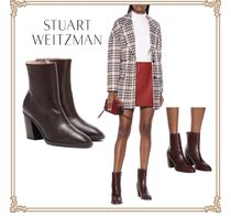 Stuart Weitzman Round Toe Leather Block Heels Ankle & Booties Boots