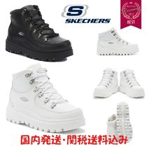 SKECHERS Platform Round Toe Rubber Sole Casual Style Street Style