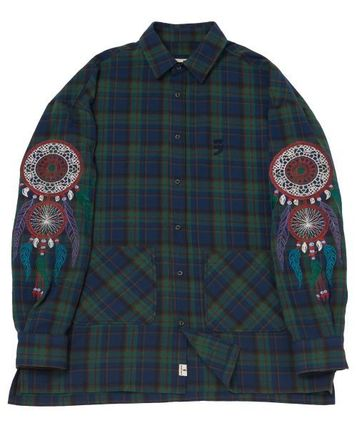 A NOTHING Polos Glen Patterns Unisex Street Style Collaboration Long Sleeves 3