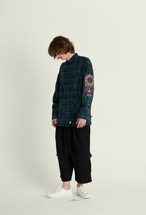 A NOTHING Polos Glen Patterns Unisex Street Style Collaboration Long Sleeves 5