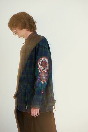 A NOTHING Polos Glen Patterns Unisex Street Style Collaboration Long Sleeves 7