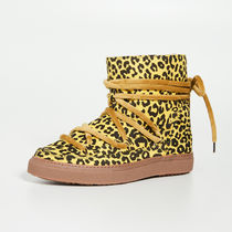 INUIKII Leopard Patterns Platform Lace-up Casual Style Sheepskin