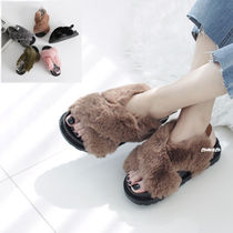 Open Toe Platform Casual Style Faux Fur Plain