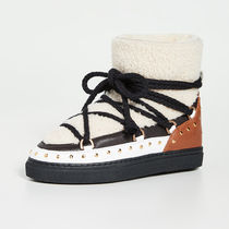 INUIKII Platform Lace-up Casual Style Sheepskin Suede Fur Studded