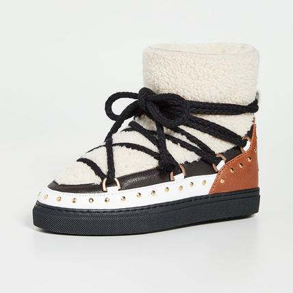 Platform Lace-up Casual Style Sheepskin Suede Fur Studded