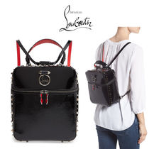 Christian Louboutin Rubylou Unisex Studded 2WAY Bi-color Chain Leather Backpacks