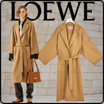 LOEWE Casual Style Wool Cashmere Collaboration Bi-color Plain Long