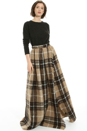 Other Check Patterns Maxi Wool Long Fringes Maxi Skirts