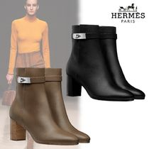 HERMES Casual Style Plain Leather Block Heels Party Style