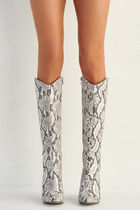 Cowboy Boots Casual Style Faux Fur Block Heels Party Style