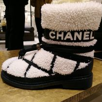 CHANEL Sheepskin Plain Mid Heel Boots