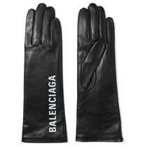 BALENCIAGA Plain Leather Leather & Faux Leather Gloves