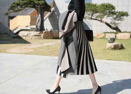 Casual Style Pleated Skirts Bi-color Long Office Style