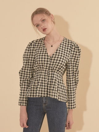 Gingham Dots Casual Style Long Sleeves Long Puff Sleeves