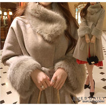 Casual Style Wool Plain Medium Long Wrap Coats