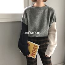 Crew Neck Short Casual Style Puffed Sleeves U-Neck Bi-color