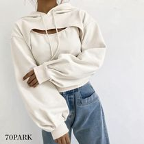 Short Street Style Long Sleeves Plain Cropped