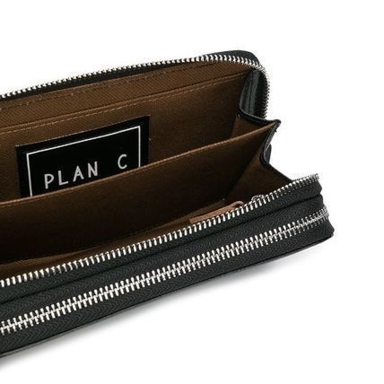 Street Style Plain Logo Long Wallets