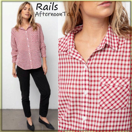 Gingham Long Sleeves Cotton Medium Handmade Shirts & Blouses