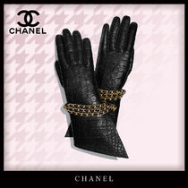 CHANEL Unisex Blended Fabrics Chain Leather