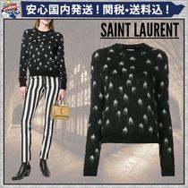 Saint Laurent Crew Neck Short Star Casual Style Long Sleeves Cropped
