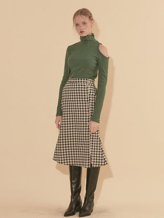 Flared Skirts Gingham Flower Patterns Dots Casual Style