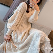 Crew Neck Cable Knit Casual Style Rib Puffed Sleeves U-Neck