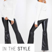 IN THE STYLE Faux Fur Plain Leather & Faux Leather Pants